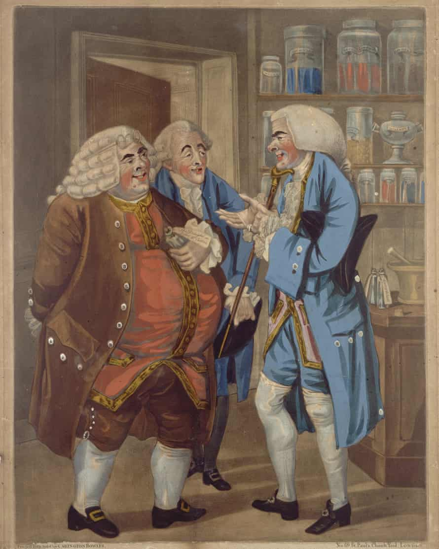 Three affluent doctors congratulating themselves their profession. Coloured mezzotint, 1793, after Richard Dighton.