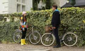 Lily Collins in yellow wellies in Emily in Paris.