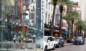 In this combination of images, residents, left, attempt to escape flood waters on 31 August 2005 in New Orleans in aftermath of Hurricane Katrina and, right, an image of the rebuilt businesses on Canal Street are seen on 16 August 2015.