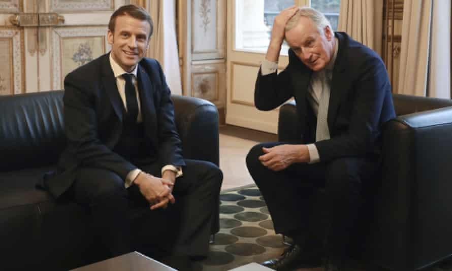 Emmanuel Macron, with Michel Barnier in Paris on Friday
