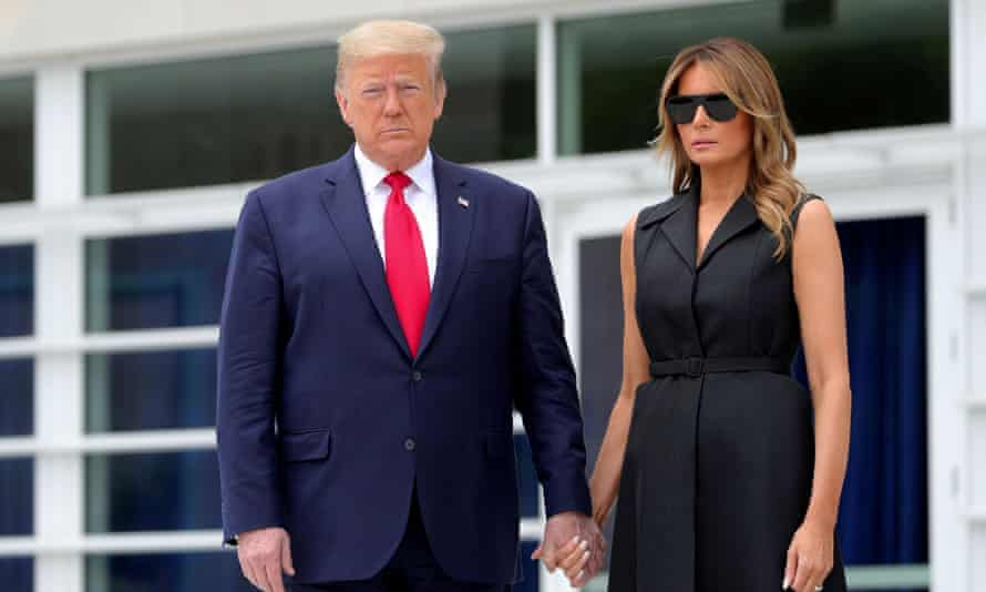 US president Donald Trump and first lady Melania Trump pose for the camera