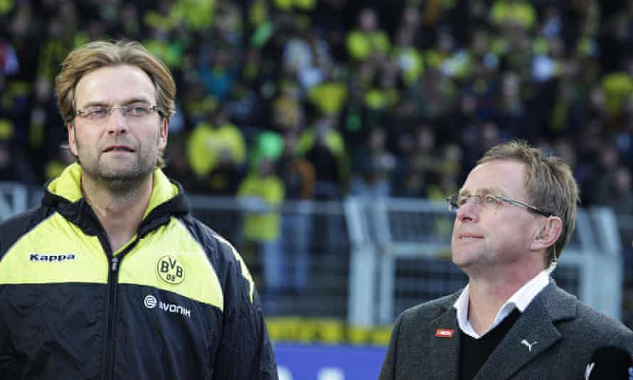 Jürgen Klopp (left) and Ralf Rangnick before the Bundesliga game between Borussia Dortmund and Hoffenheim in October 2010.