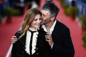 Cabourg, France Actor Chiara Mastroianni and director Christophe Honore arrive for the closing ceremony of the Cabourg film festival