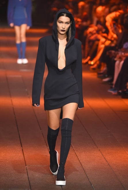 Bella Hadid walks at the DKNY show.