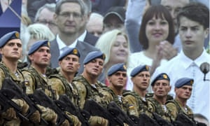 Servicemen at a military parade marking the 25th anniversary of Ukraine's Independence in Kiev.