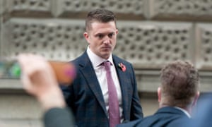 Tommy Robinson outside the Old Bailey in London
