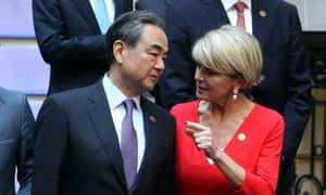 Julie Bishop talks to her Chinese counterpart, Wang Yi