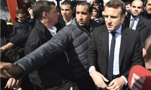Emmanuel Macron is guarded by Alexandre Benalla as during his campaign for the French presidential election last year.