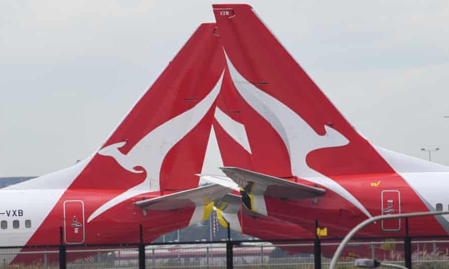 Qantas logo on plane tails
