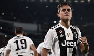 Paulo Dybala celebrates his quickfire opening goal for Juventus.