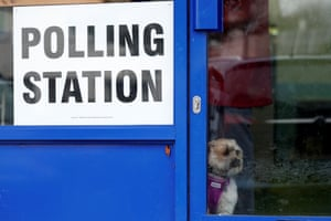 On the inside: peering out of a polling station in Oxford