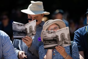 Spectators look on during Remembrance Day in Sydney