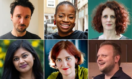Not the Booker 2020 shortlist in full: (l-r clockwise): Richard Owain Roberts, Abi Daré, Maggie O'Farrell, Chris Bonnello, Emma Donoghue and Shahnaz Ahsan/