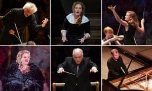 Pick of the Proms … Clockwise from top left: Sir Simon Rattle, Eva-Maria Westbroek, Mirga Gražinytė-Tyla, Steven Osborne, Daniel Barenboim and Renee Fleming.