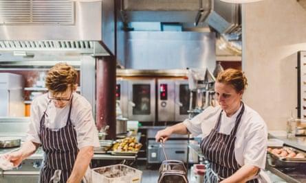 Neil Borthwick and Angela Hartnett making pasta.