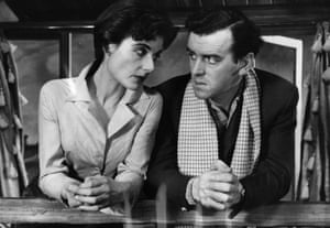 With Yvonne Mitchell in the play Misery Me in 1955.