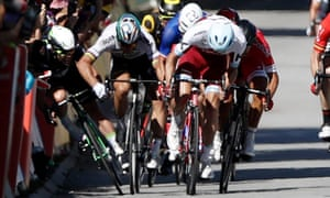 Peter Sagan, secomnd left, stayed on his line and could not see Mark Cavendish on the right side during their Topur de France collision, read a statement from his Bora-Hansgrohe team.