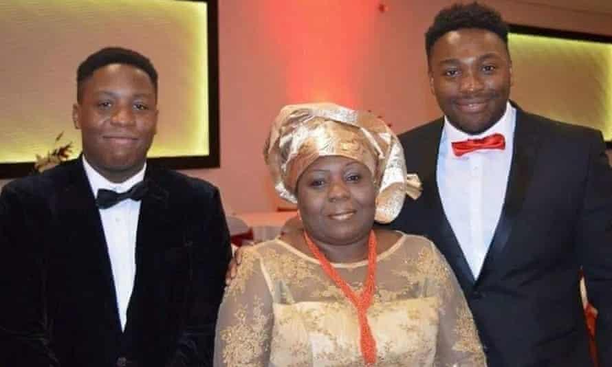 Care worker Carol Jamabo with sons Tonye Selema (left) and Abiye Selema.