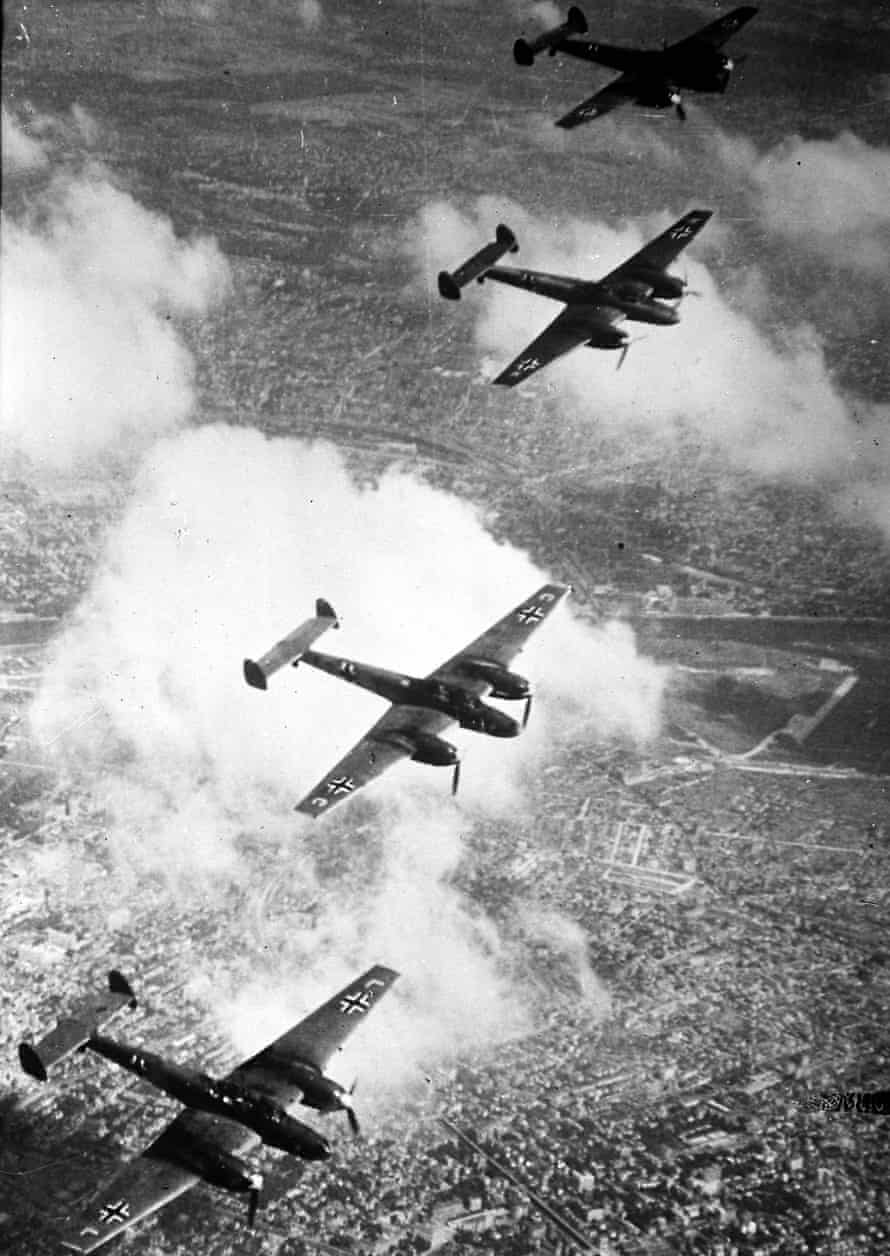 Messerschmitt ME110s on their to bomb targets in Britain circa 1941.