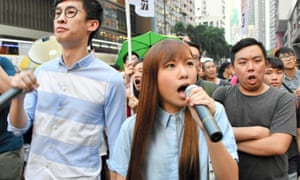 Newly elected lawmakers Yau Wai-ching (R) and Sixtus Leung (L), who have been barred by China from taking their seats in Hong Kong's parliament.