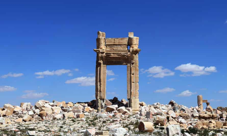 The remains of the Temple of Bel in Palmyra. Syria, blown up by Islamic State jihadists