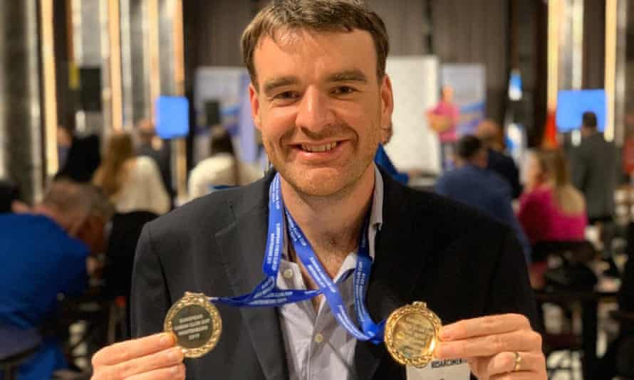 Gawain Jones with the two gold medals that he won at at the 2019 European Club Cup.