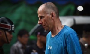 British cave diver Richard Stanton arrives at the Tham Luang cave area sporting an iDive t-shirt.