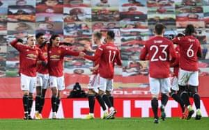 Manchester United's Marcus Rashford celebrates scoring their second goal.