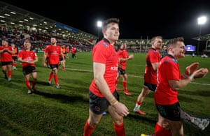 Jacob Stockdale (centre) on a lap of honour with his teammates after Ulster defeated Racing 92 in their European Champions Cup group-stage match in Belfast.