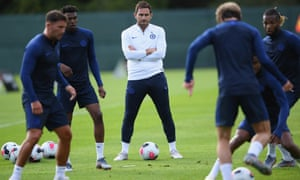 Frank Lampard runs the rule over his new charges during his first training session as Chelsea manager.
