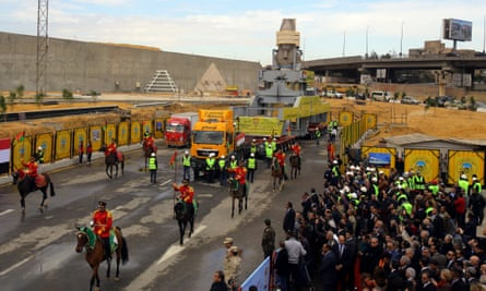 Ramses II statue arrives, with horseback military guard, at the construction site of the Grand Egyptian Museum, Giza, Egypt, on 25 January 2018.