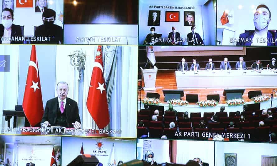 Turkey's president, Recep Tayyip Erdoğan, on a conference call.
