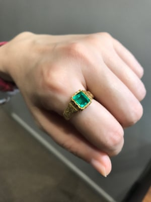 An early Victorian emerald ring at Karen Deakin Antiques in Sydney