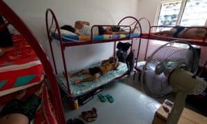 Migrant workers in bunk beds