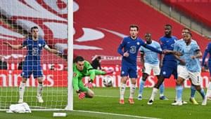 Chelsea's Kepa Arrizabalaga saves.