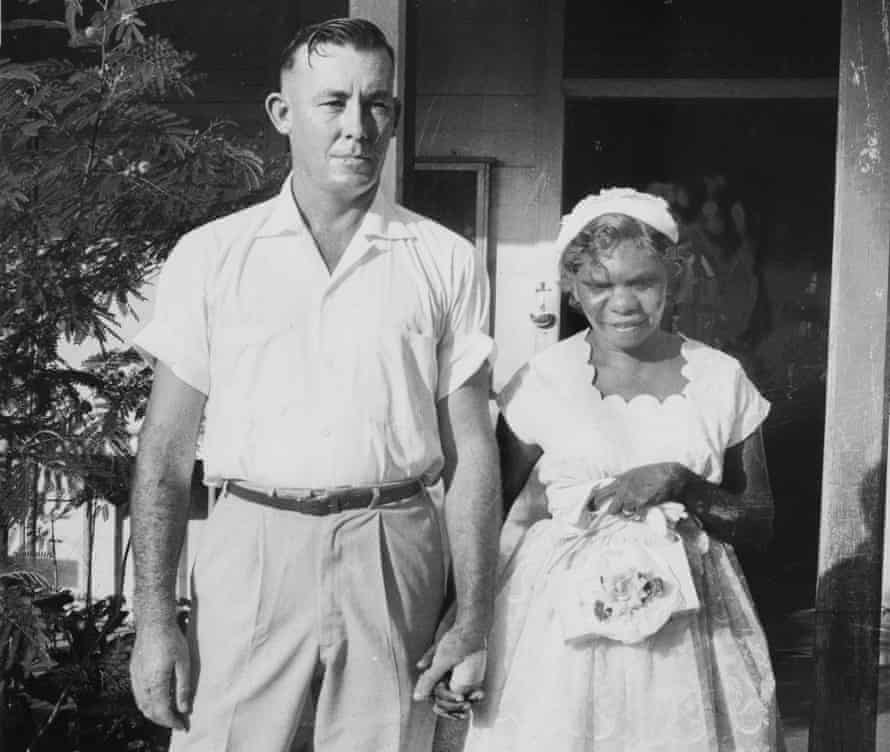 Mick Daly and Gladys Namagu on their wedding day in Darwin, Australia. The couple's wish to marry became a big story in the Australian media and they became known as the Romeo and Juliet of the outback.