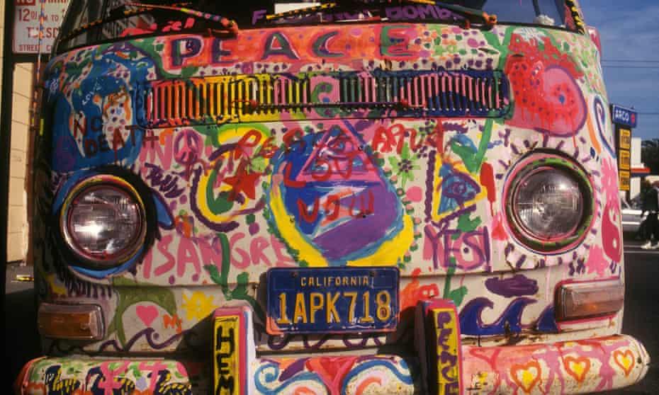 Hand painted hippy bus in Haight-Ashbury, San Francisco.