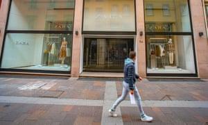 A closed Zara shop in Bergamo, Italy.