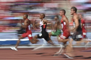 """<strong>Beijing, China </strong>(L-R) USA's Ashton Eaton, Canada's Damian Warner, USA's Trey Hardee and Germany's Rico Freimuth compete in the 100 metres of the men's decathlon athletics event at the 2015 IAAF World Championships at the """"Bird's Nest"""" National Stadium"""