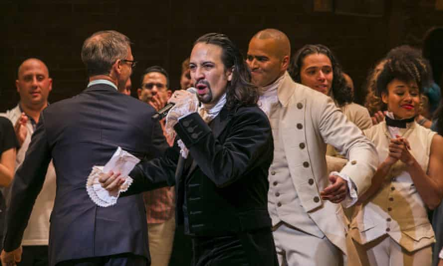 Lin-Manuel Miranda addresses the audience after the play's opening night on Broadway.