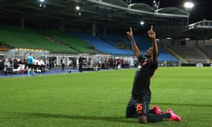 Odion Ighalo celebrates his fine opening strike for Manchester United.
