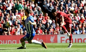 Dominic Solanke scores against Brighton in Liverpool's final Premier League game of 2017-18