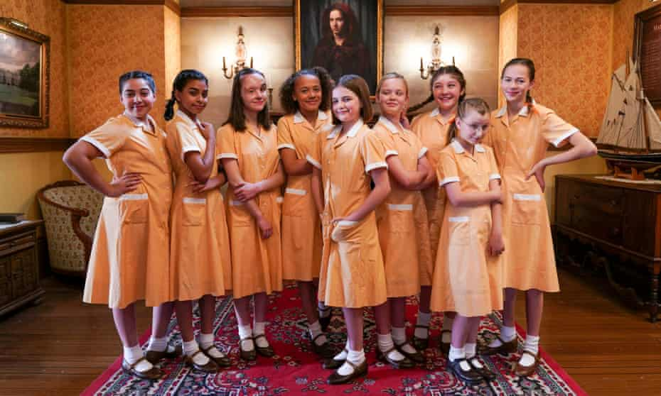 The North Tower girls ... Zoey Siewert, Twinkle Jaiswal, Beth Bradfield, Sienna Arif-Knights, Ella Bright, Danya Griver, Natasha Raphael, Imogen Lamb and Saskia Kemkers in Malory Towers.