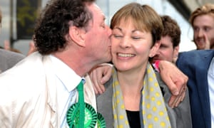 Caroline Lucas with her husband after being re-elected to Brighton Pavilion on an increased majority.