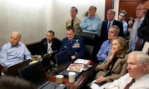 Joe Biden, left, sits alongside Barack Obama and national security advisers as they follow the mission against Osama bin Laden in the White House Situation Room on 1 May 2011.
