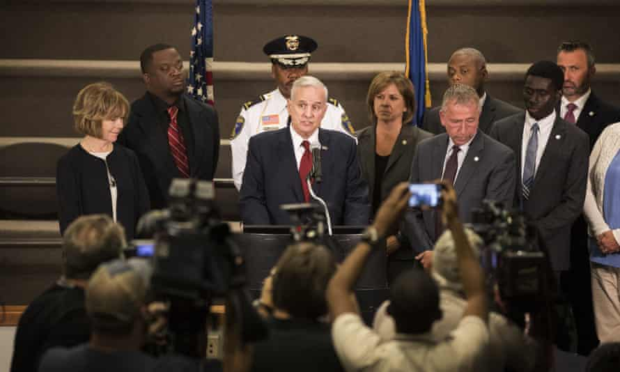 Minnesota governor Mark Dayton speaks during a press conference on 19 September, a two days after the stabbing.