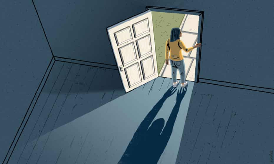 An illustration of a woman standing in a doorway, holding the doorframe and looking outside. Her shadow falls behind her into the room which is blue and empty