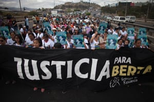 Protest in March 2017 to commemorate the assassination of Lenca leader and environmentalist Berta Cáceres