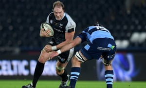 Ospreys' Alun Wyn Jones with George Earle of Cardiff Blues in January.