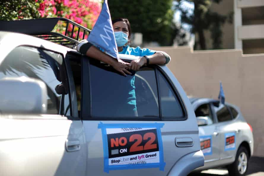 A protest by Uber and Lyft rideshare drivers against California's Proposition 22, in October.